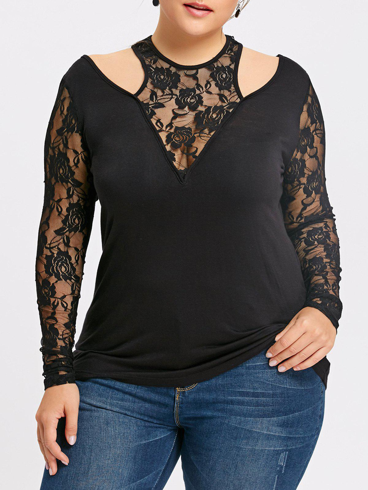 Plus Size Lace Insert Sheer Cut Out Top plus size sheer lace trim ruched top