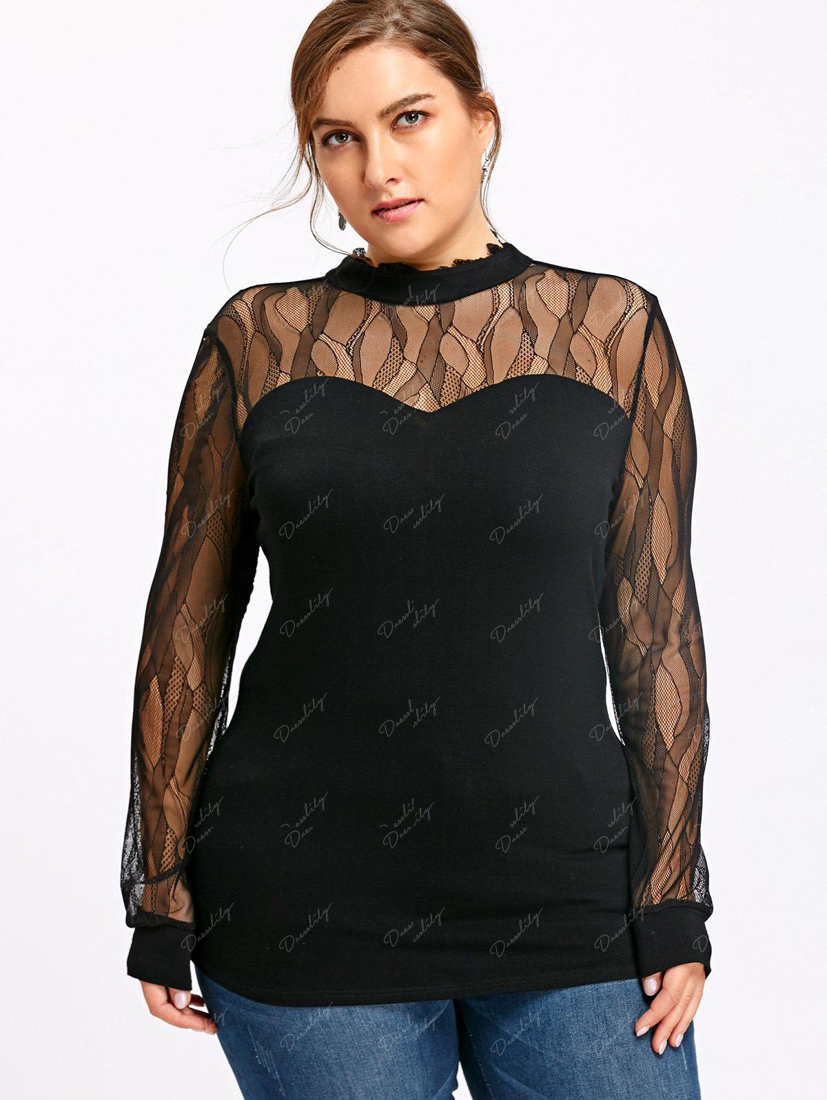 Plus Size See Thru Mock Neck Top - BLACK 5XL