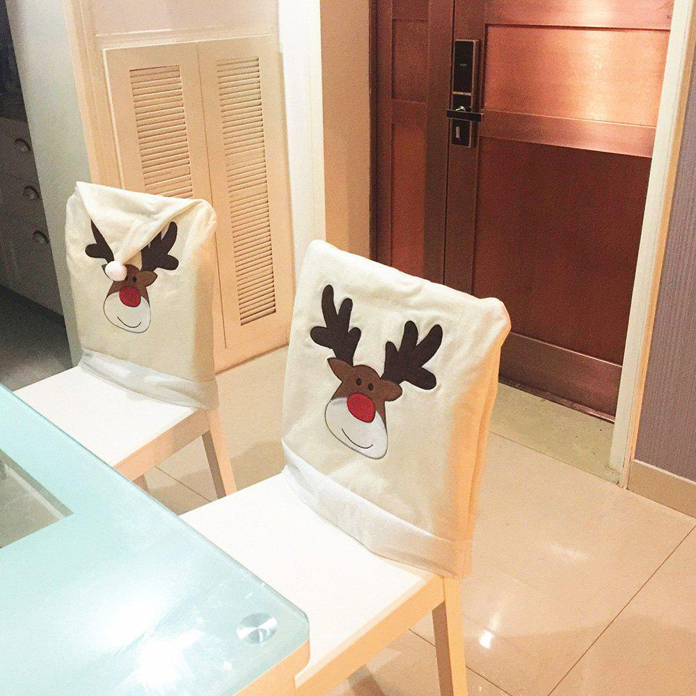 Christmas Elk Embroidered 1PCS Nonwoven Chair Cover - BEIGE 50*60CM