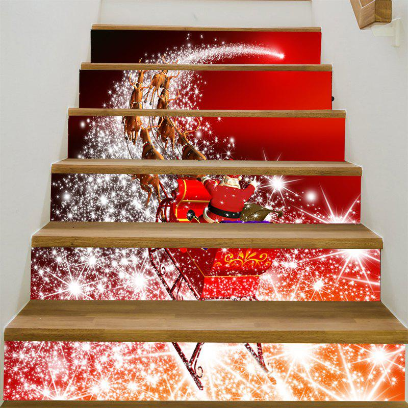 Starlight Christmas Sleigh Patterned Stair Stickers - RED/WHITE 100*18CM*6PCS