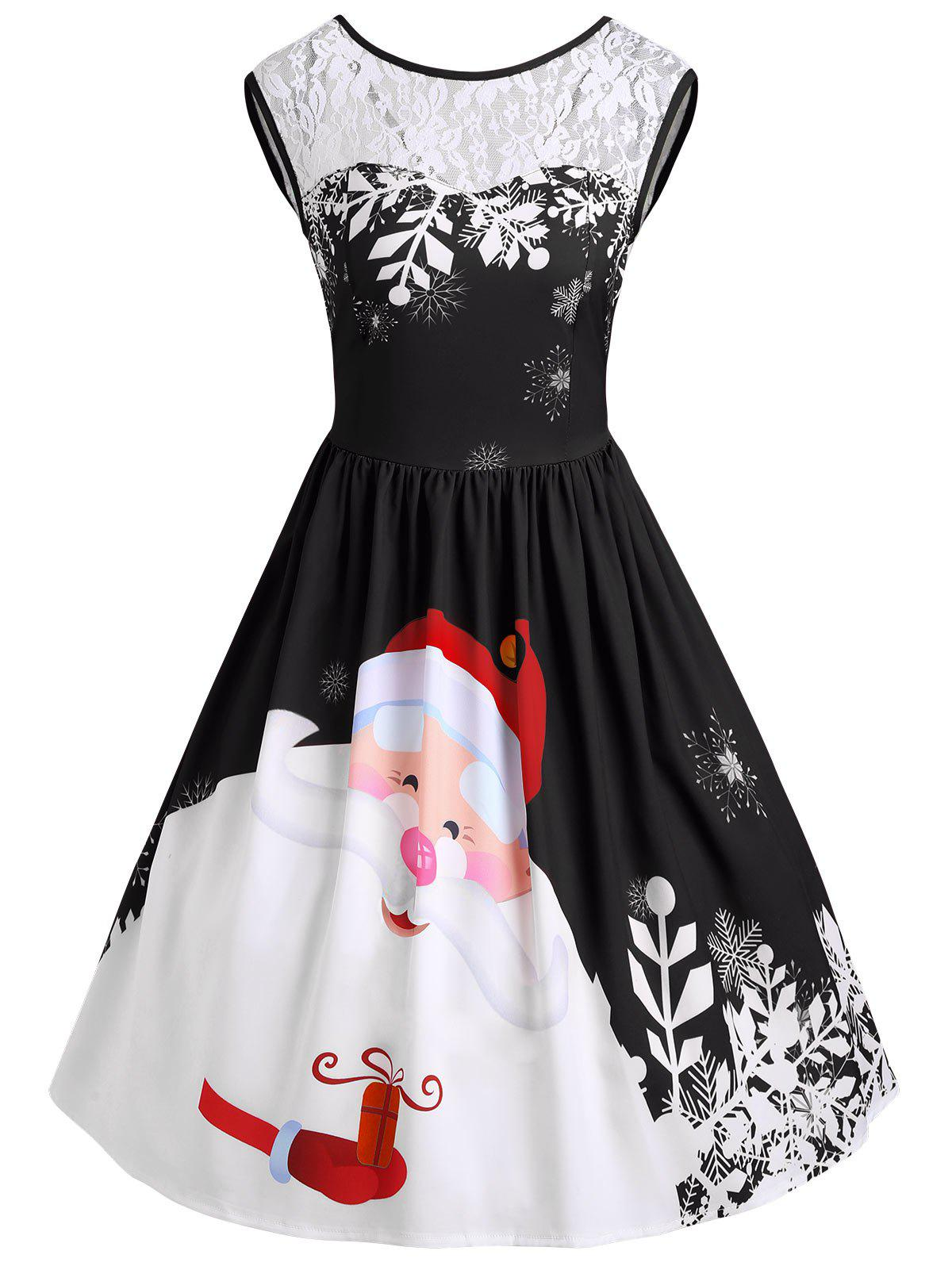 Christmas Lace Insert Santa Claus Print Party Dress bell sleeve lace insert mini party dress