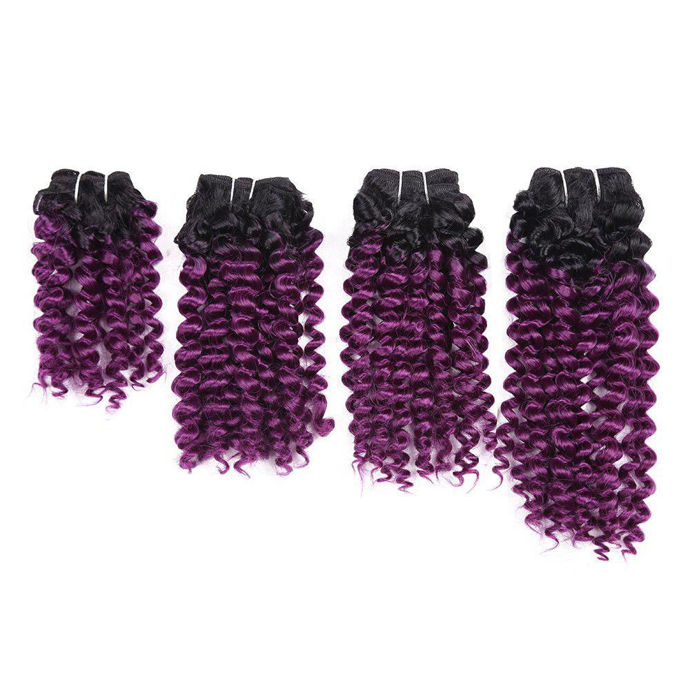 Short Toni Curly Synthetic 4 Pieces Hair Weaves - GRADUAL PURPLE