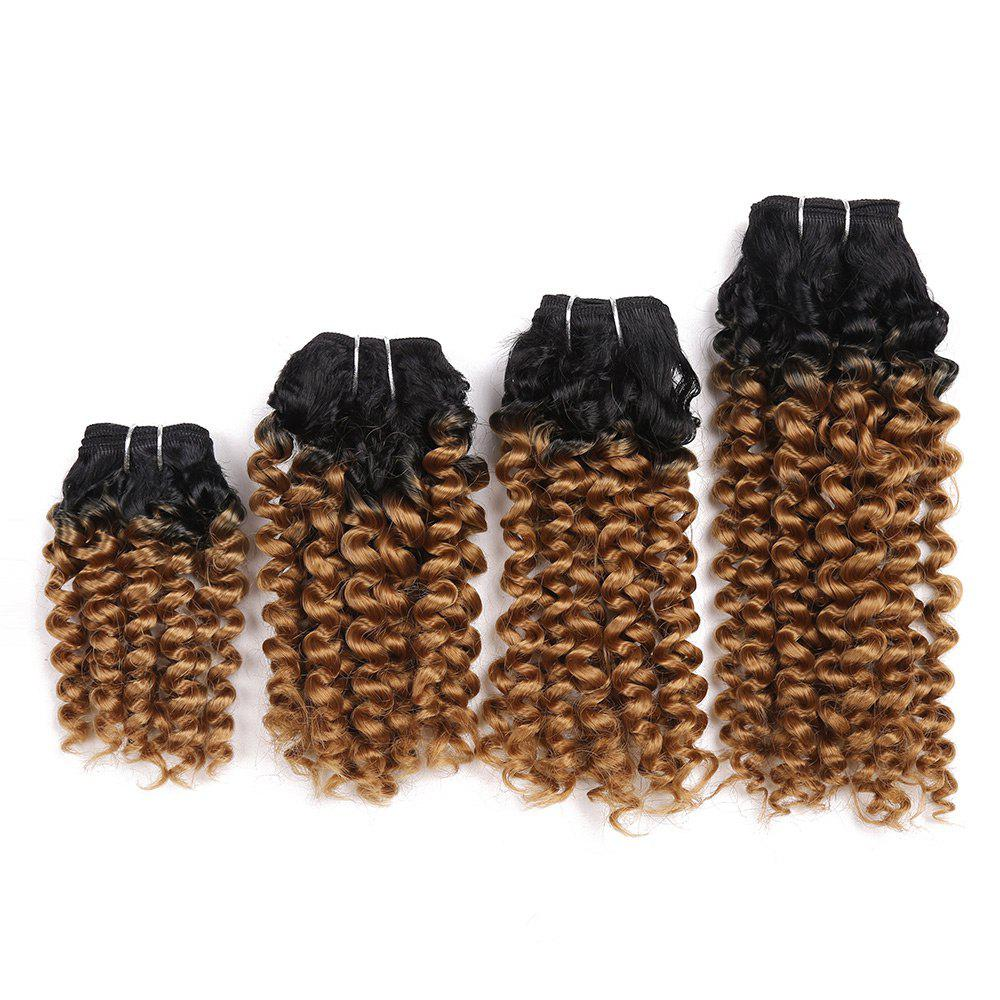 Short Toni Curly Synthetic 4 Pieces Hair Weaves - GRADUAL BROWN