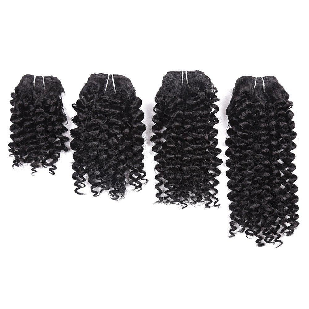 Short Toni Curly Synthetic 4 Pieces Hair Weaves - BLACK