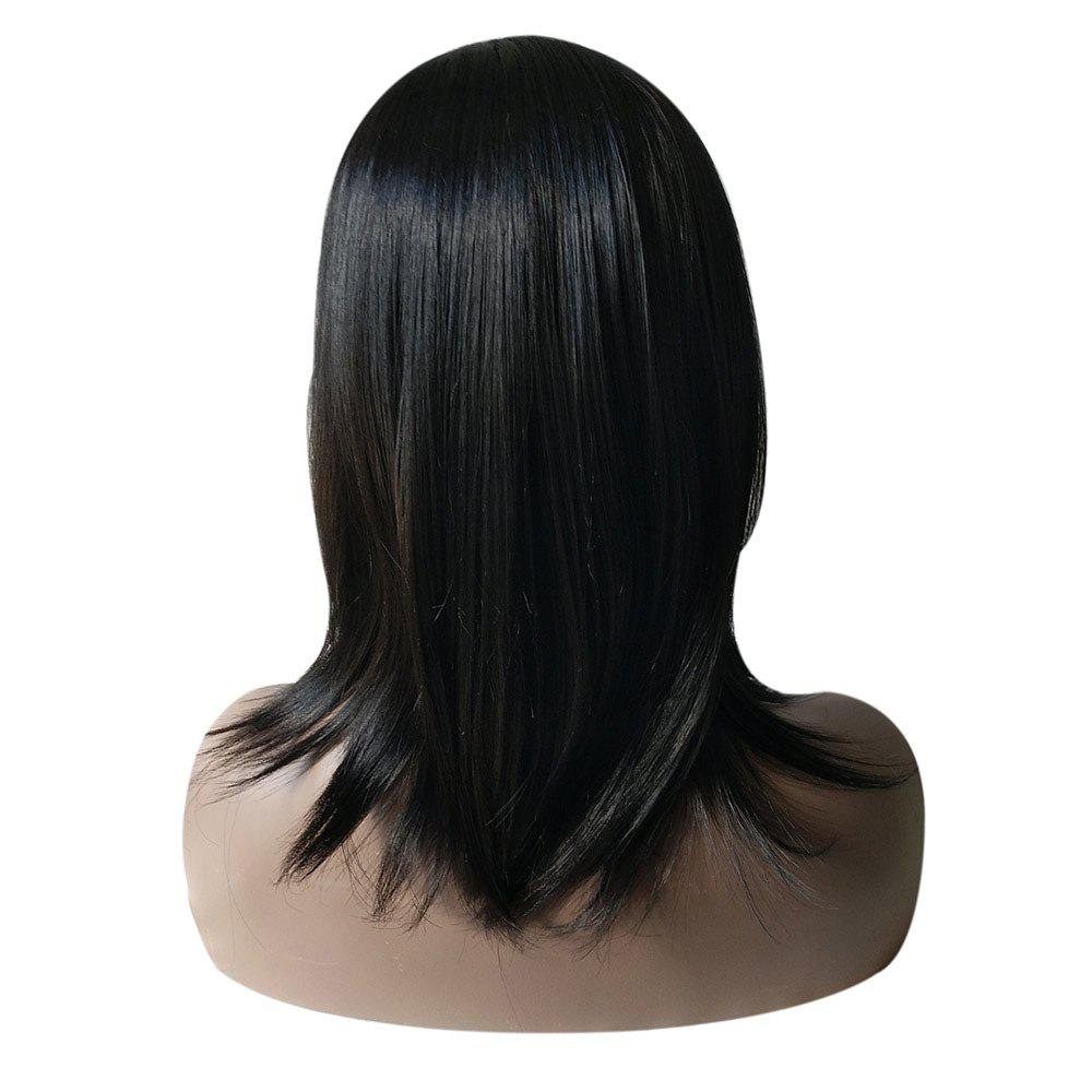 Medium Side Part Natural Straight Synthetic Wig - BLACK