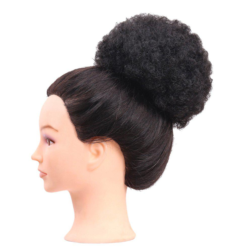 Short Curly Synthetic Cozy Hair Bun Ponytail Wig - BLACK