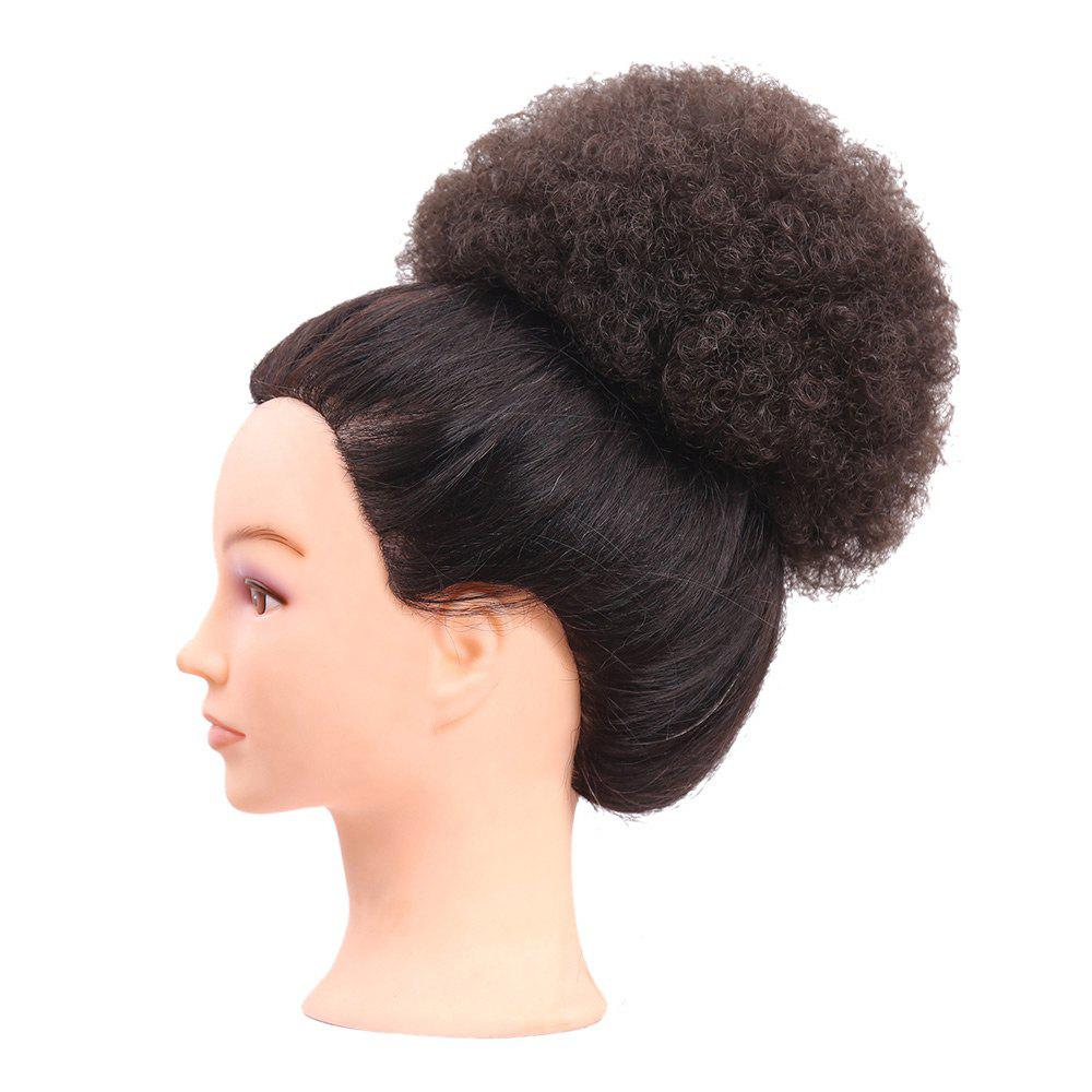 Short Curly Synthetic Cozy Hair Bun Ponytail Wig - LIGHT BROWN