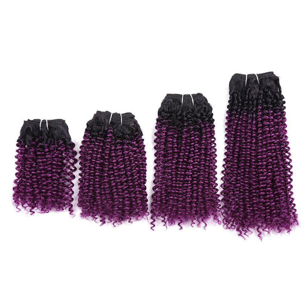 Short Cork Curly Synthetic 4 Pieces Hair Weaves - GRADUAL PURPLE