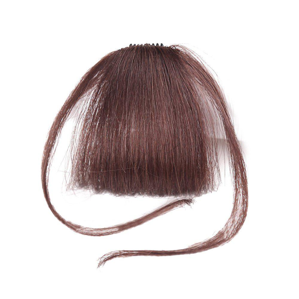 Short Clip-in See-through Fringe Human Hair Piece With Temples - DEEP BROWN