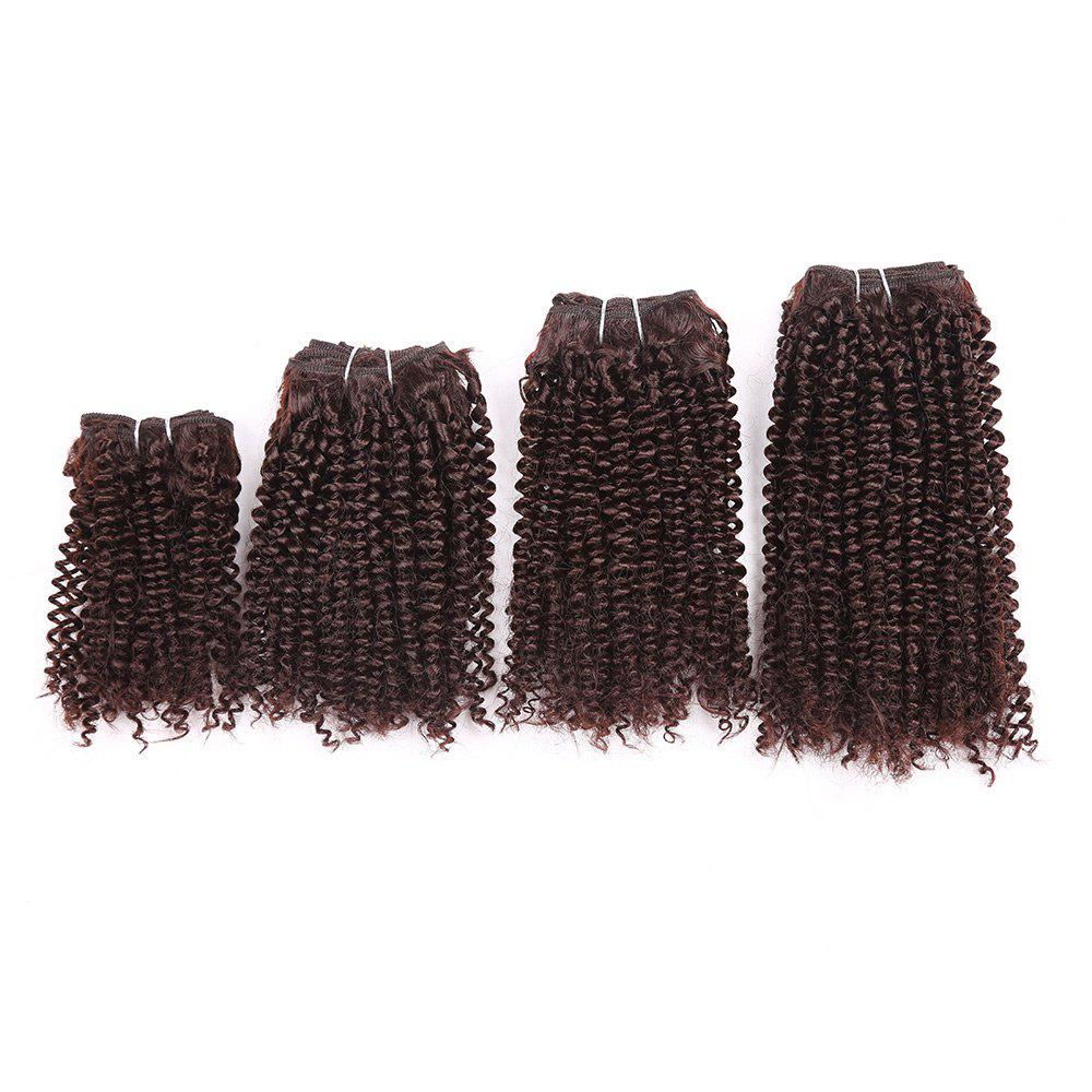Short Cork Curly Synthetic 4 Pieces Hair Weaves - BROWN