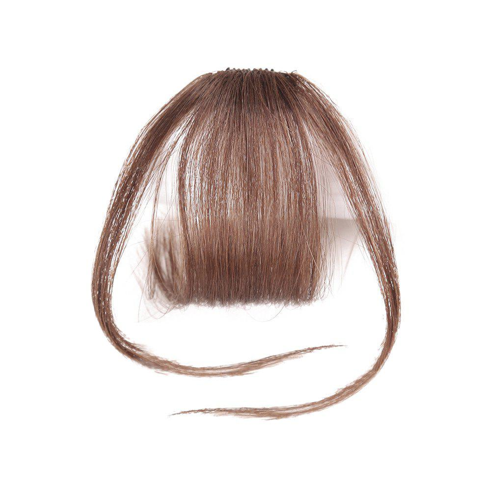 Short Clip-in See-through Fringe Human Hair Piece With Temples - LIGHT BROWN