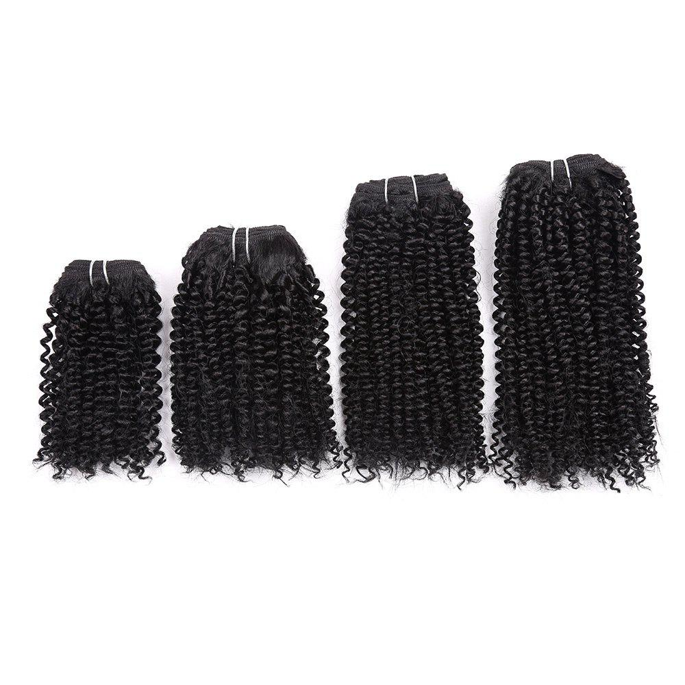 Short Cork Curly Synthetic 4 Pieces Hair Weaves - BLACK