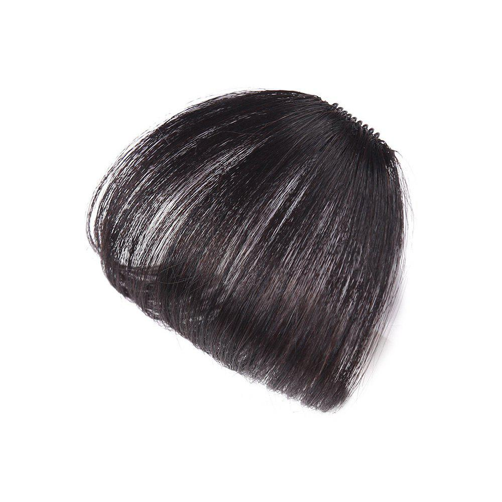 Short Clip-in Human Hair See-through Bang Hair Extension - NATURAL BLACK
