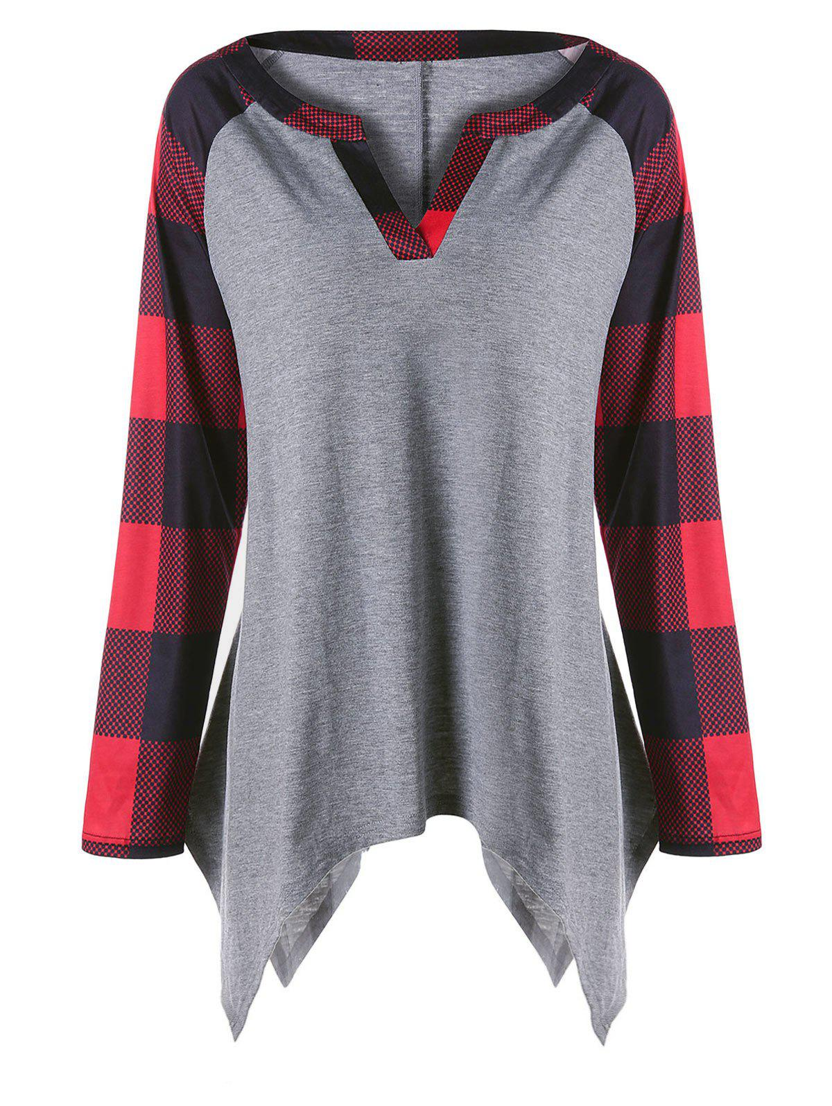 Plus Size Raglan Sleeves Asymmetric Plaid Panel T-shirt plus size raglan sleeves long plaid t shirt