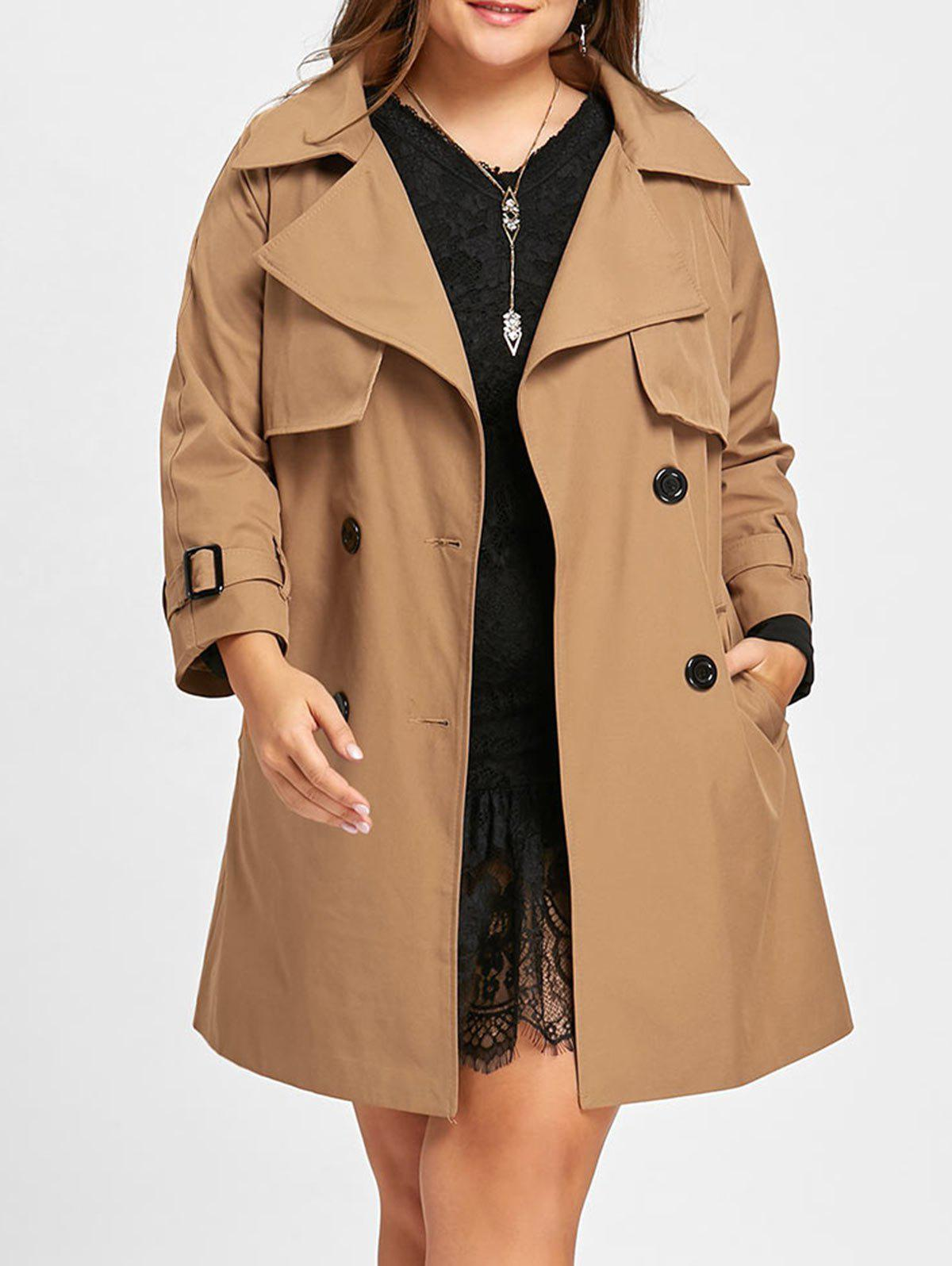 Double Breasted Plus Size Long Coat - KHAKI 4XL