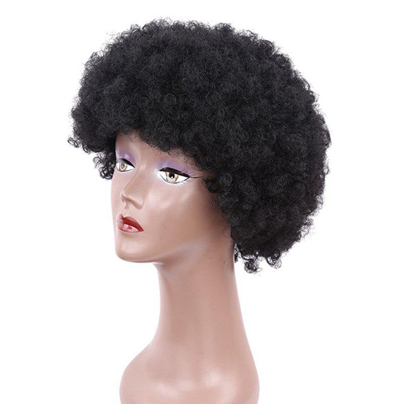Bouffant Short Afro Curly Heat Resistant Synthetic Wig - BLACK