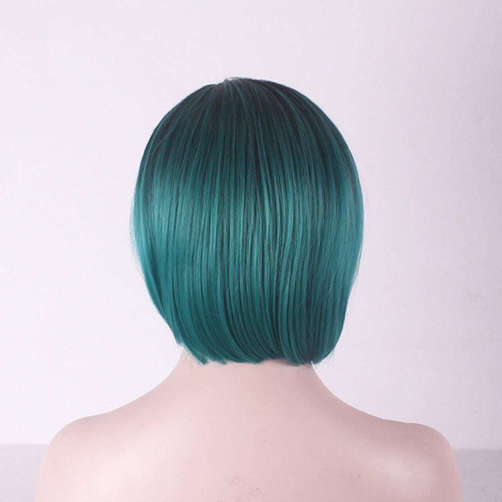 Short Side Parting Straight Bob Colormix Cosplay Synthetic Wig - BLACK/GREEN