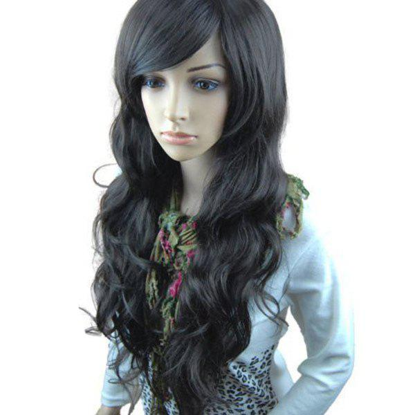 Inclined Bang Long Layered Wavy Synthetic Wig - BLACK