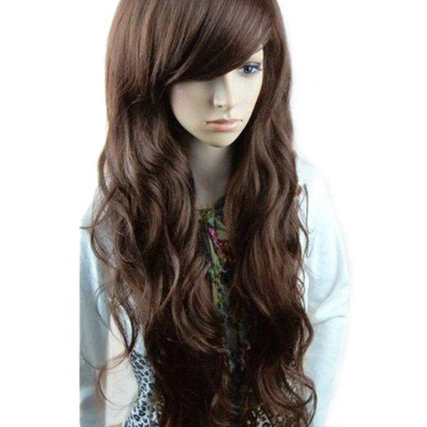 Inclined Bang Long Layered Wavy Synthetic Wig - DEEP BROWN
