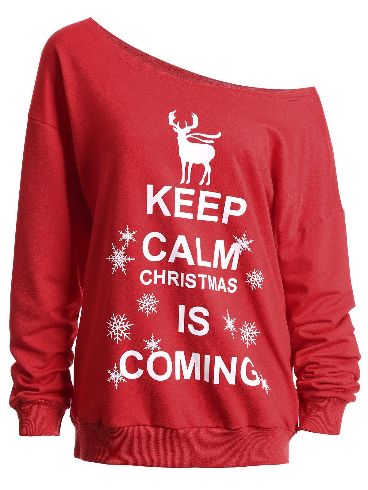 Keep Calm Skew Neck Sweatshirt de Noël - Rouge S