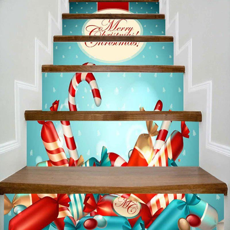 Merry Christmas Candies Print DIY Decorative Stair Stickers - LIGHT BLUE 100*18CM*6PCS