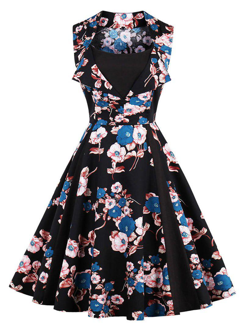 Vintage Floral Print Party Fit and Flare Dress sleeveless floral print fit and flare dress