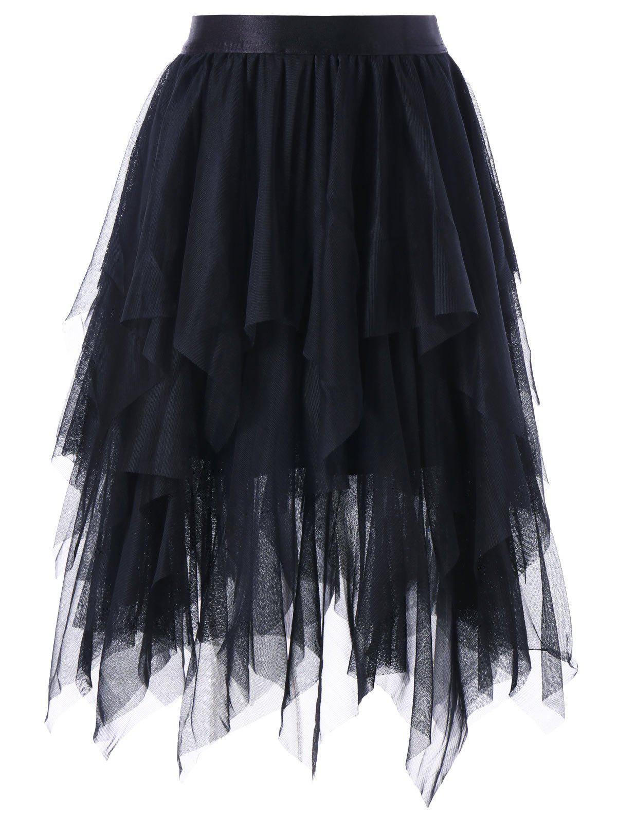 Asymmetrical Layered Tulle Skirt - BLACK M