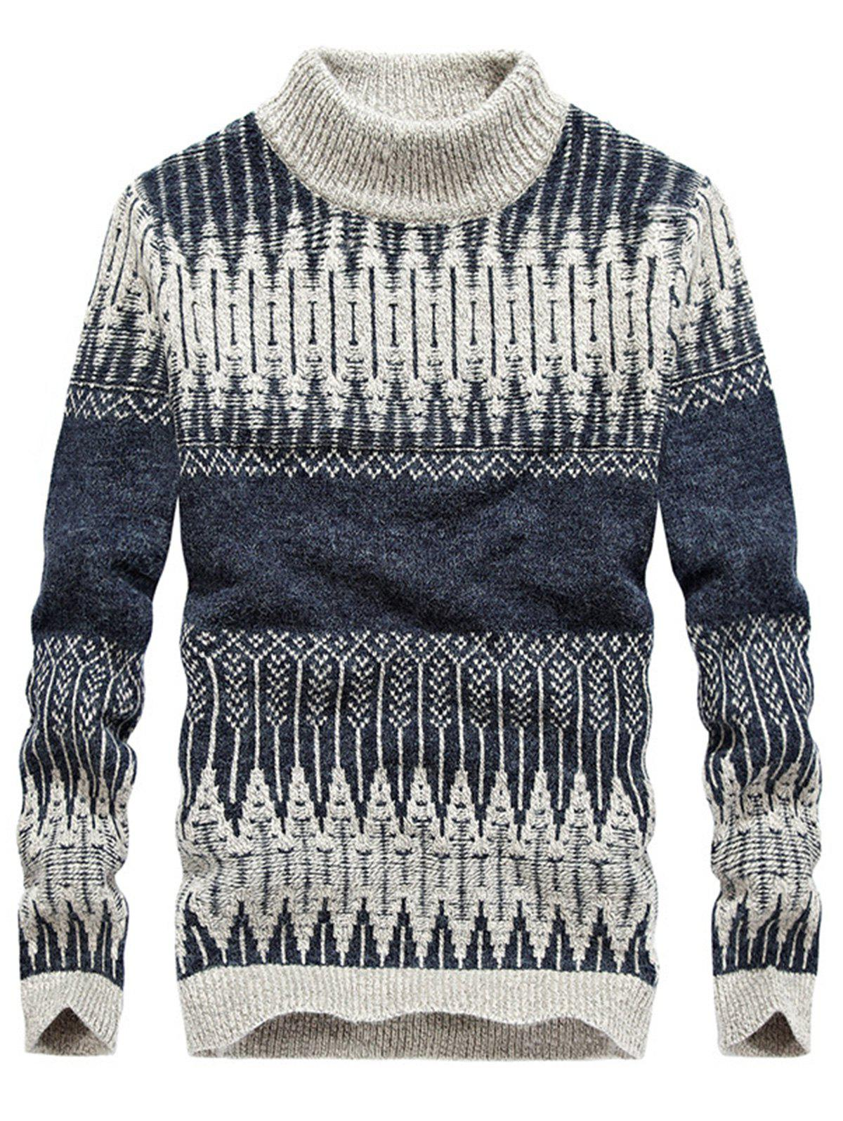 Mock Neck Jacquard Color Block Sweater - DEEP BLUE 3XL