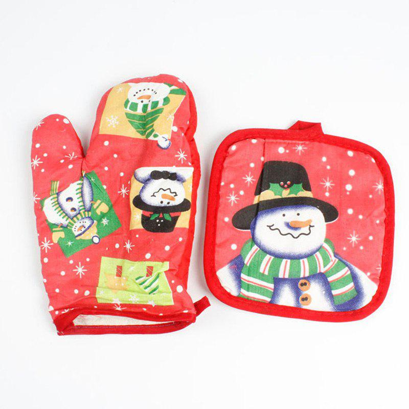 Christmas Snowman Pattern Oven Mitts - RED