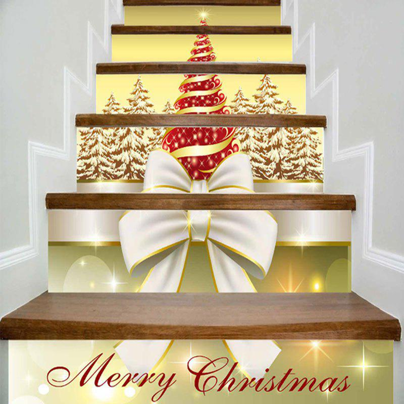 Merry Christmas Tree Bowknot Print DIY Decorative Stair Stickers - YELLOW 100*18CM*6PCS
