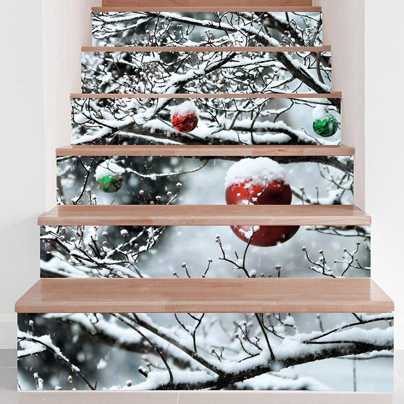 Snows Branch Pattern DIY Decorative Stair Stickers - GRAY 100*18CM*6PCS
