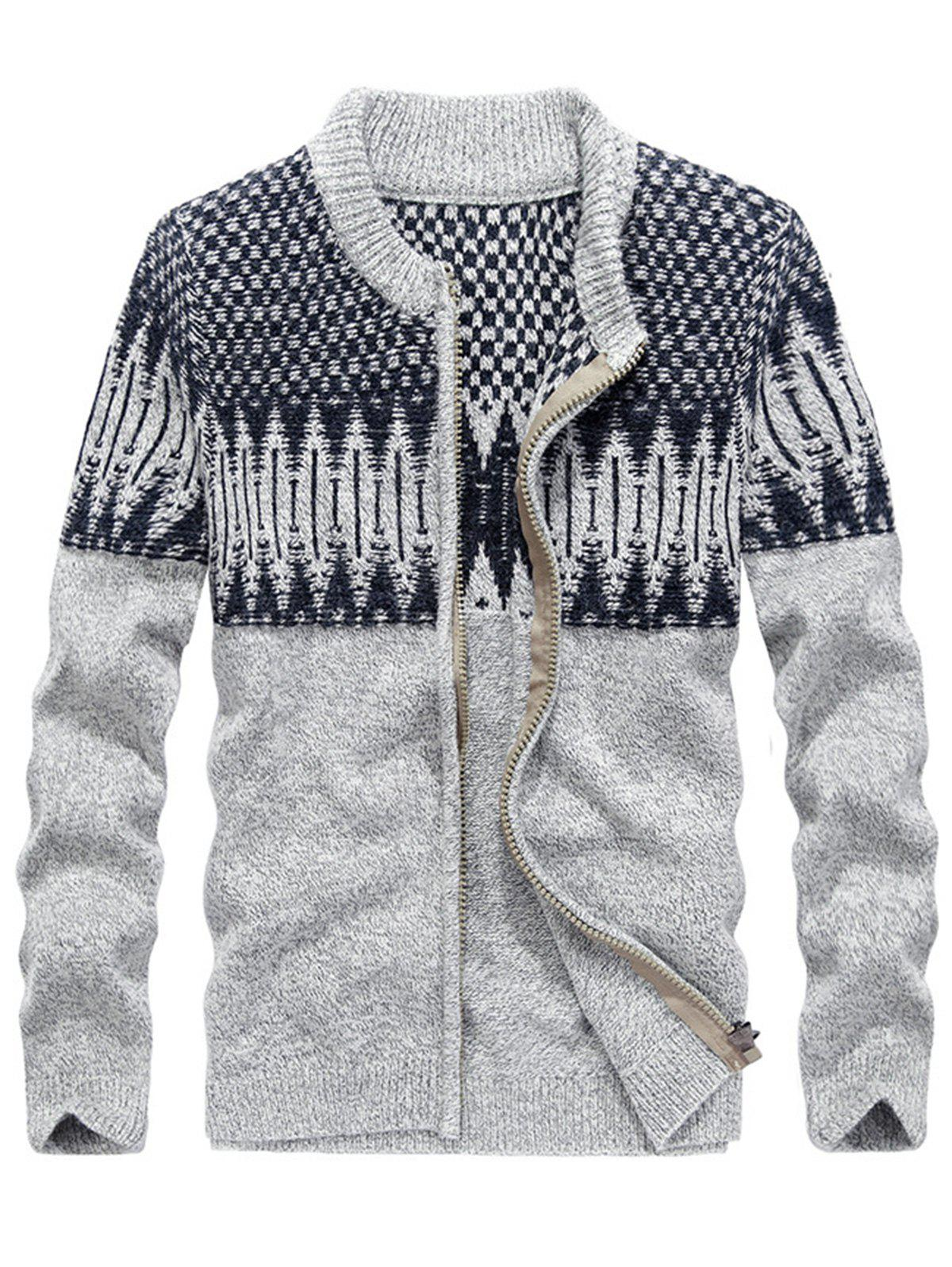 Color Block Jacquard Zip Front Sweater Cardigan - GRAY 2XL