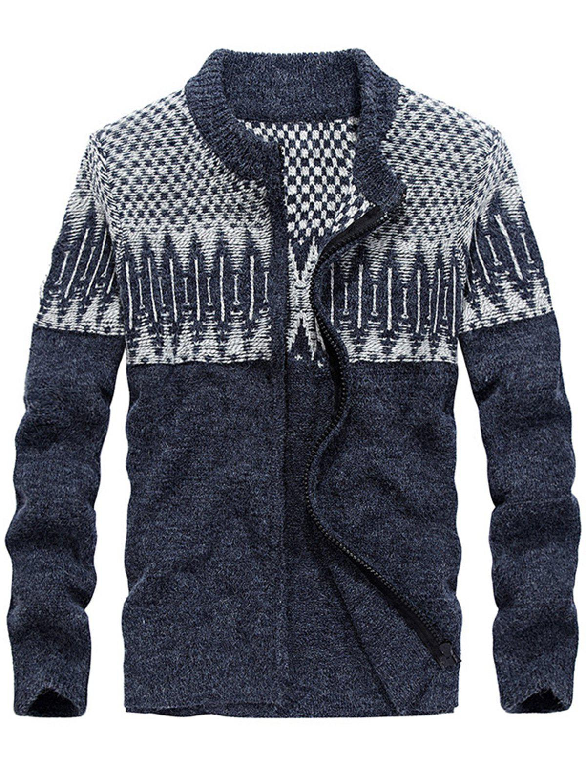Color Block Jacquard Zip Front Sweater Cardigan - BLUE 2XL