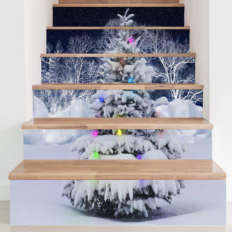 Snows Christmas Tree Printed DIY Removable Stair Stickers christmas diy xmas tree pattern removable wall stickers