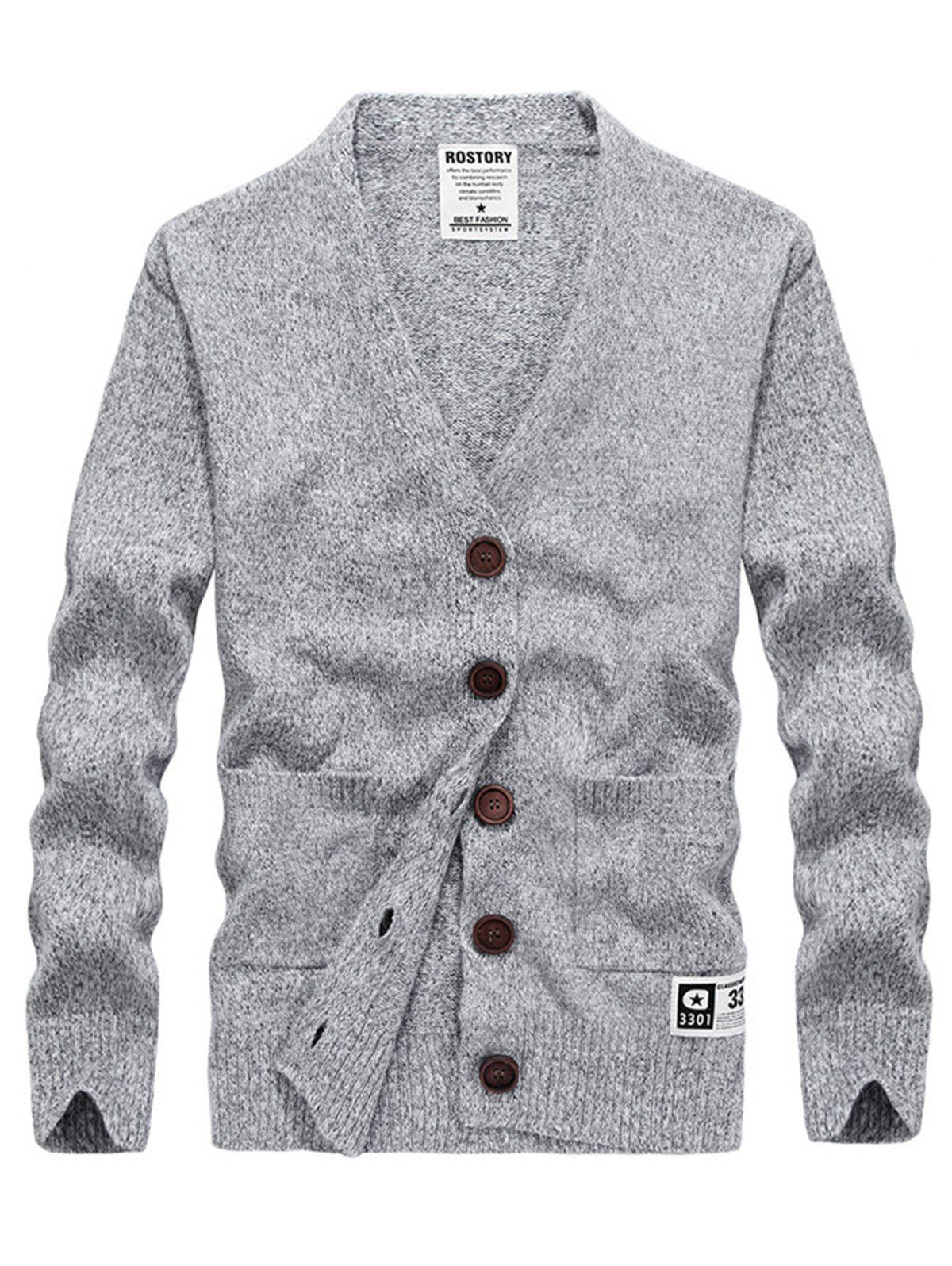 Button Up Cashmere V Neck Cardigan - LIGHT GRAY L