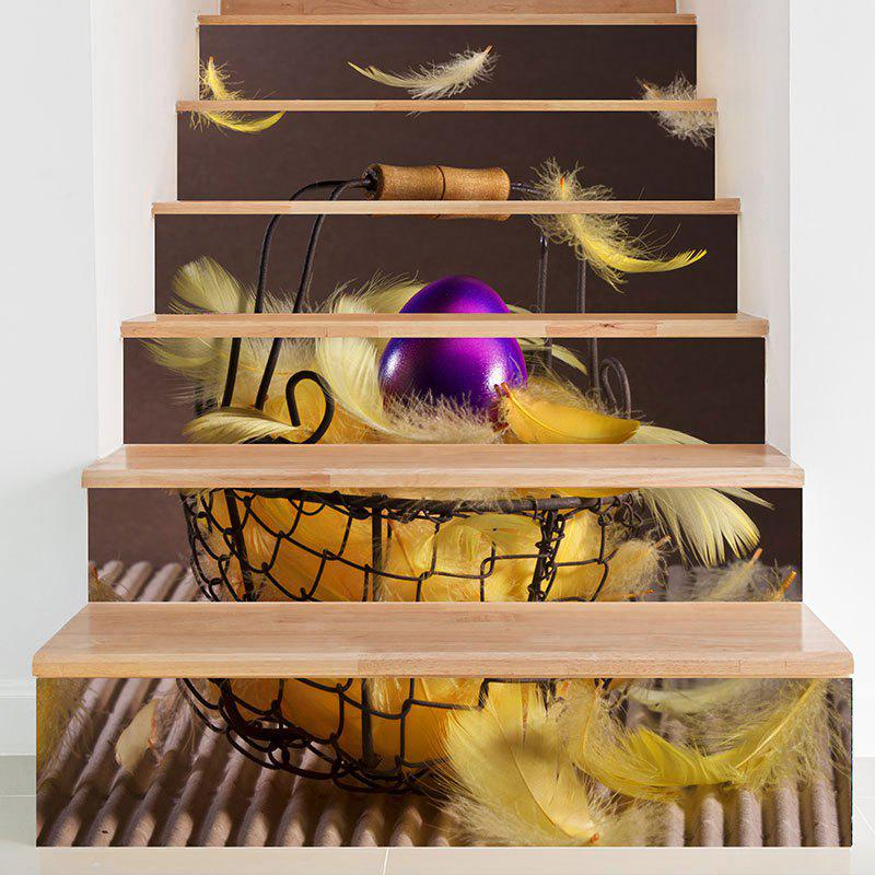 DIY Feather Printed Decorative Stair Stickers - COLORMIX 100*18CM*6PCS
