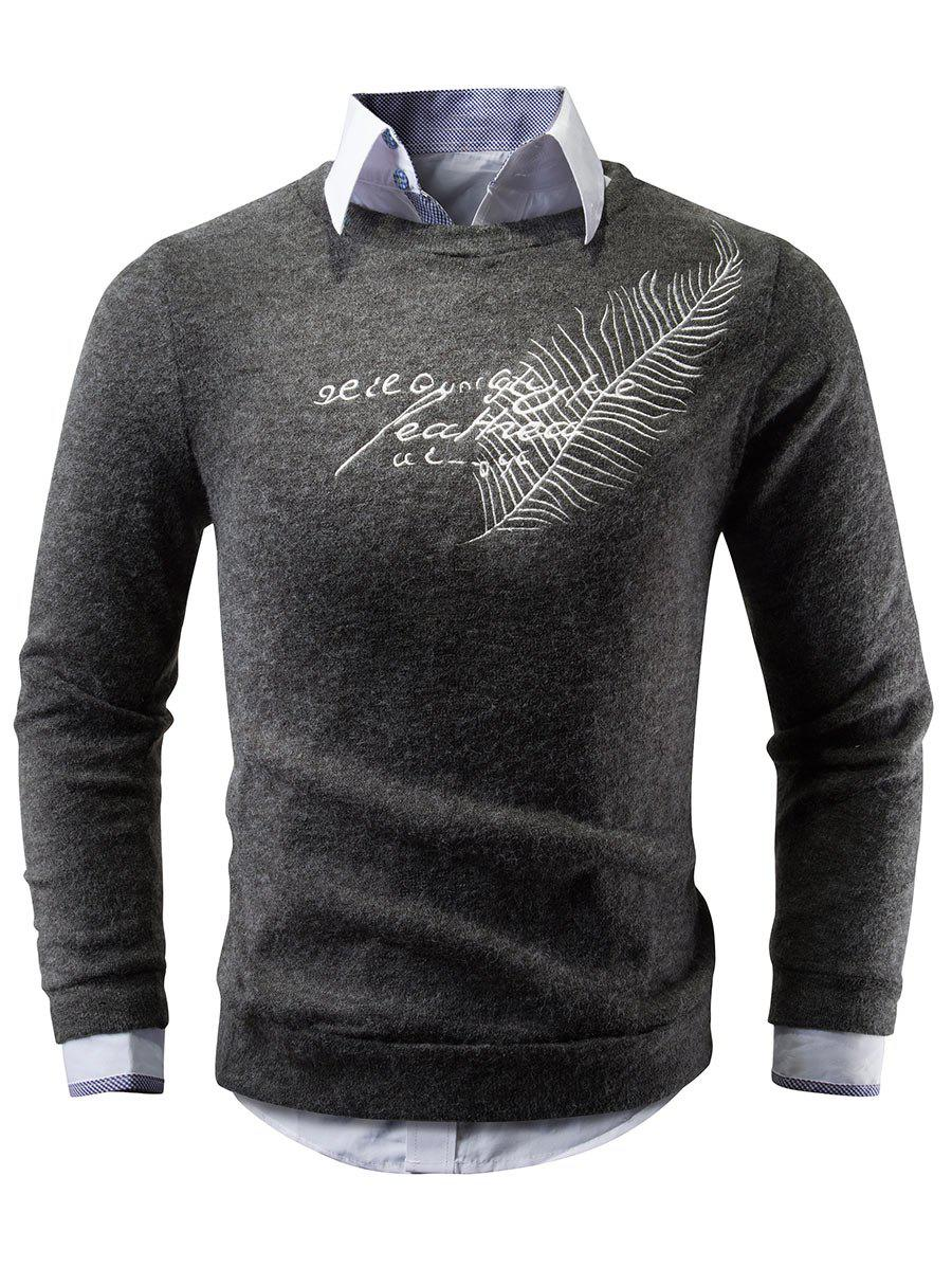 Crew Neck Feather Embroidered Sweater - DEEP GRAY S