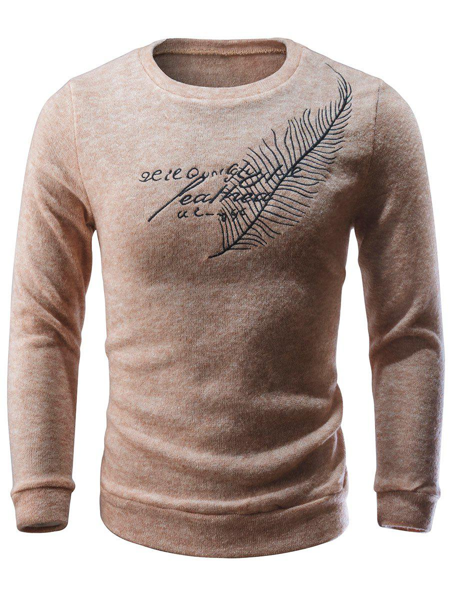 Crew Neck Feather Embroidered Sweater - APRICOT S