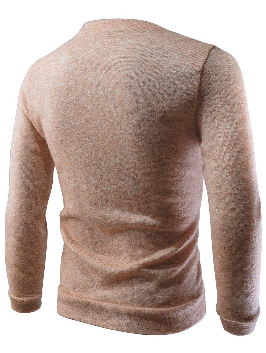 Crew Neck Feather Embroidered Sweater - APRICOT XL
