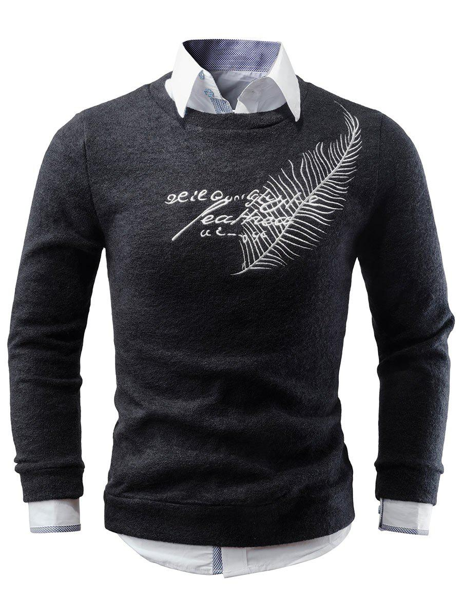 Crew Neck Feather Embroidered Sweater - BLACK S