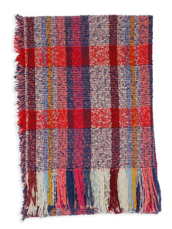 Soft Colormix Striped Pattern Fringed Shawl Scarf - DARK RED