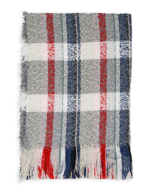 Soft Colormix Striped Pattern Fringed Shawl Scarf - GRAY