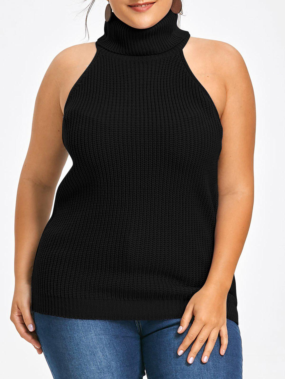 Plus Size Ribbed Turtleneck Knitted Vest - BLACK 2XL