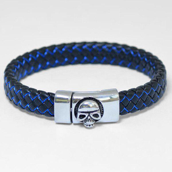Skull Pattern Magnet Buckle PU Leather Bracelet - BLACK / BLUE