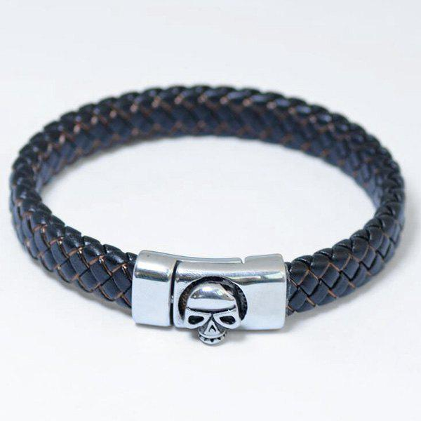 Skull Pattern Magnet Buckle PU Leather Bracelet - BLACK BROWN