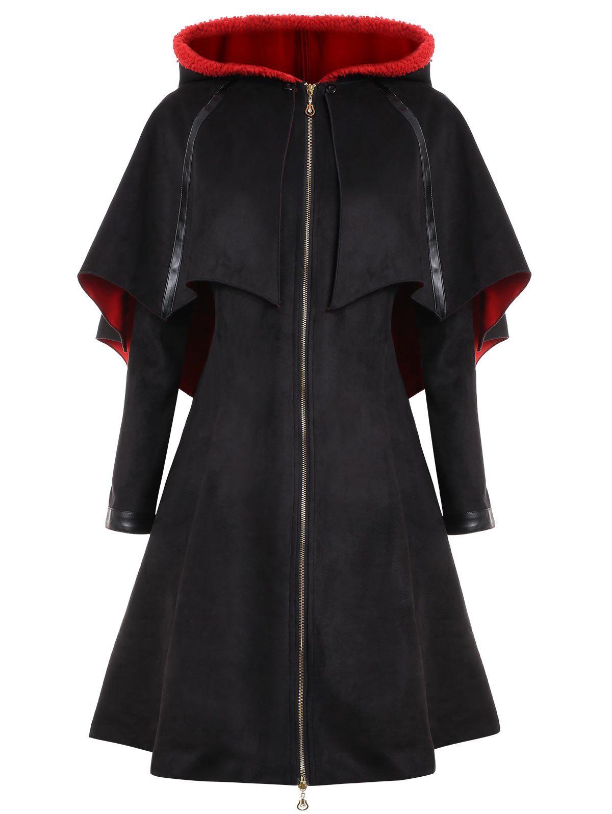 Plus Size Faux Suede Long Hooded Bat Coat - BLACK 5XL