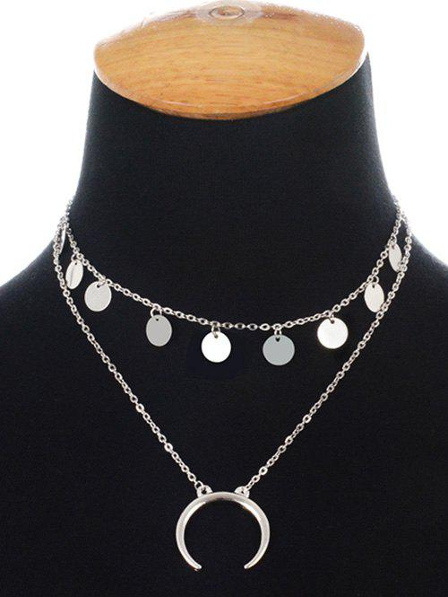 Tribal Moon Disc Layered Necklace - SILVER