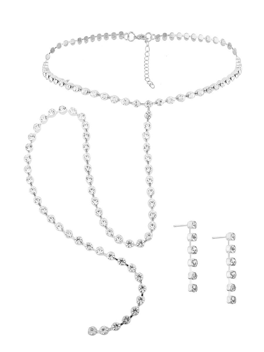 Alloy Rhinestone Necklace and Earring Set - SILVER