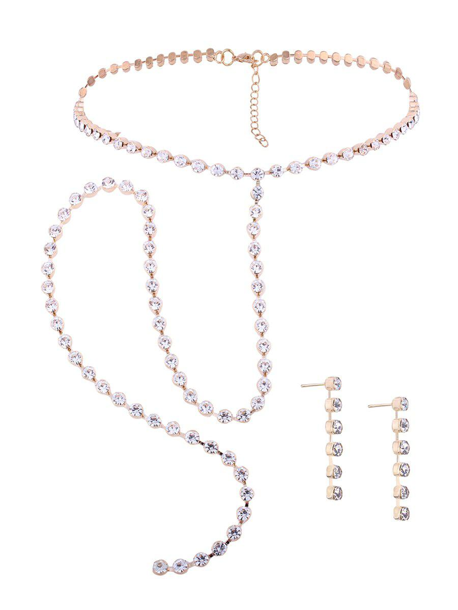 Collier strass et boucles d'oreilles en alliage - Or