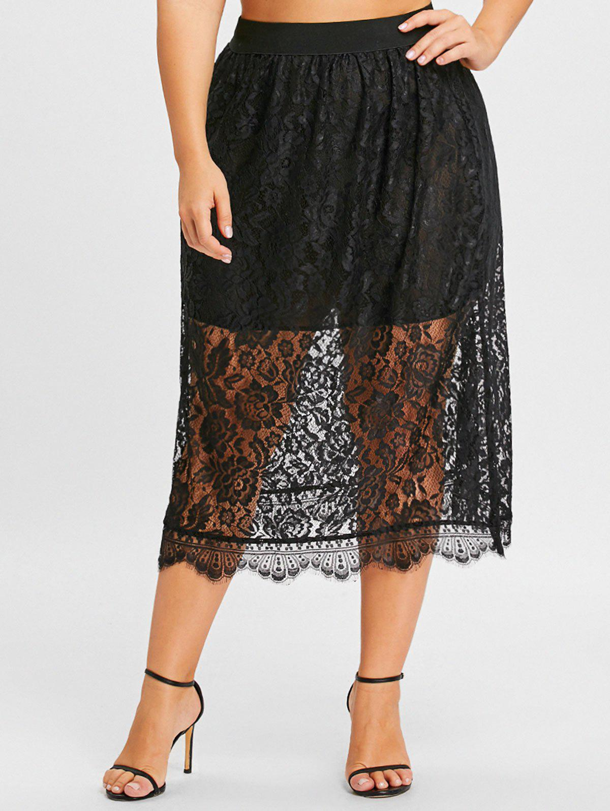 Lace Plus Size Midi Skirt - BLACK 5XL